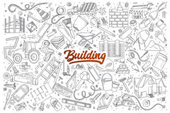 Building doodle set with red lettering Stock Photo