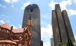 Building in downtown Dallas. Old red church and modern building in downtown Dallas,Texas Stock Photo