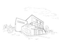 Building drawing. Black on white Stock Photo