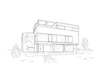 Building drawing. Black on white Royalty Free Stock Images