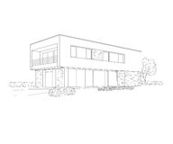 Building drawing. Black on white Royalty Free Stock Photography