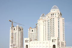 Building the dream. The Four Seasons hotel under construction in Doha, Qatar, in the spring of 2004 royalty free stock photos