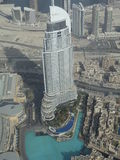 Building in Dubai Souk Al Bahar. Souk Al Bahar. A building in traditional style, opposite Burj Khalifa and Dubai Mall. The view from 125th floor of Burj Khalifa Stock Photos