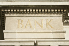 Building Edifice With BANK Engraving. Stock Photography