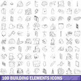 100 building element icons set, outline style Stock Images