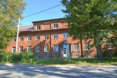 The building of elementary school in summer day. Znamensk, Kaliningrad region.  Stock Photos