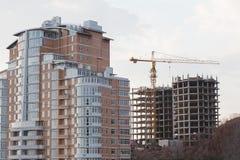Building elevating crane Stock Photo