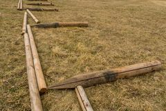 Building an enclosure. On a small field where horses are kept or exercised stock images