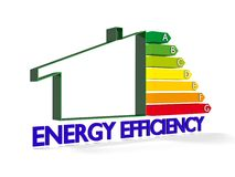 Building and Energy chart. High resolution Energy chart with house symbol. Conceptual image for green architecture, energy or power saving and rating with copy Royalty Free Stock Photos