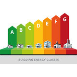 Building Energy Efficiency Classes Label. Infographic vector illustration of buildings energy efficiency classification with house, office and factory Stock Photo