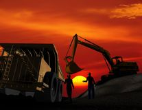Building engineering. And workers on a background of the sky Royalty Free Stock Photo