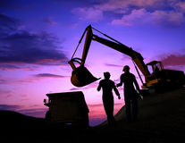 Building engineering. And workers on a background of the sky Stock Photo