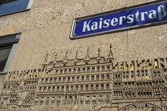 Building with an engraving at Kaiserstrasse in Nuremburg, German Royalty Free Stock Images