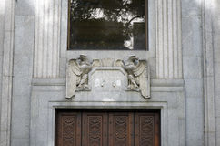 Building entrance door details in Sao Paulo. SAO PAULO, SP, BRAZIL -  APRIL 4, 2015 - Building entrance door details in the old financial center of Sao Paulo Stock Photo