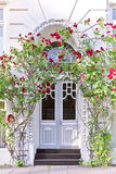 Building entrance with red roses Royalty Free Stock Photography