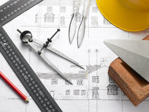Building Equipment On House Plans Stock Photography