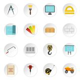 Building equipment icons set, flat style. Building equipment icons set. Flat illustration of 16 building equipment icons for web vector illustration
