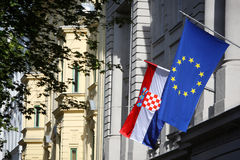 Building with EU and Croatian flag Stock Photos