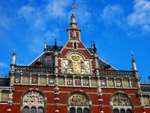 Building in Europe. Buildings in Amsterdam city and was the train station Royalty Free Stock Photo