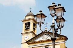 building europe  old christian ancient  in street lamp Stock Photography