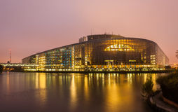 Building of European Parliament in Strasbourg Royalty Free Stock Images