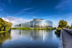 The building of European Parliament in Strasbourg. Royalty Free Stock Images