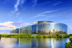 The building of European Parliament in Strasbourg. STRASBOURG, FRANCE, AUGUST 06 2016. The building of European Parliament in Strasbourg Royalty Free Stock Photos