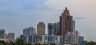Building at evening. Building, city skyline at evening Stock Photography