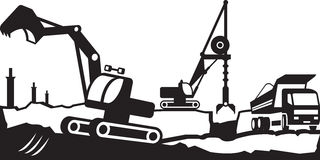 Building excavation and transport equipment Stock Images