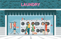 Building exterior front view and interior of laundry room. With row of industrial washing machines and facilities for washing clothes, Laundry service banner Royalty Free Stock Photography