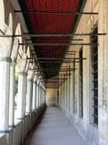 Building Exterior Hallway. Open covered hallway on the exterior of a building Royalty Free Stock Photo