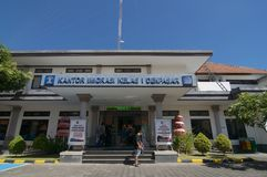 Building exterior of Immigration Office of Denpasar in Bali, Indonesia. Denpasar, Bali, Indonesia - 24th April 2019 : Picture of the building exterior of the stock images