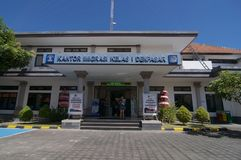 Building exterior of Immigration Office of Denpasar in Bali, Indonesia. Denpasar, Bali, Indonesia - 24th April 2019 : View of the building exterior of the stock photo