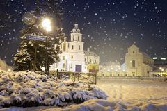Building exterior of main Church of Minsk at winter evening, Belarus royalty free stock photo