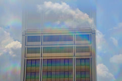 Building exterior motion blur. Modern building exterior motion blur through prism. Abstract architecture stock image