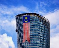 Building exterior with national malaysia flag Stock Photography