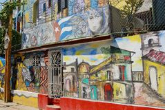 Building exterior with the street art paintings in Havana, Cuba. Stock Images