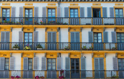 Building exterior with windows and balconies Royalty Free Stock Photos
