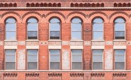 Building exterior with windows stock photo