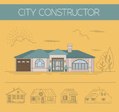 Building exteriors graphic template. Outline and color version set. Vector illustration Royalty Free Stock Images