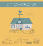 Building exteriors graphic template. Outline and color version set. Vector illustration Stock Photo