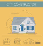 Building exteriors graphic template.. Outline and color version set. Vector illustration Stock Images