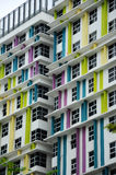 Building façade design with pattern and colours. CYBERJAYA, MALAYSIA – SEPTEMBER 15, 2014: Colourful building façade design with repetition pattern stock photos