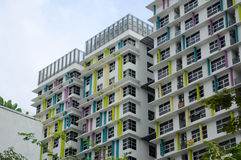 Building façade design with pattern and colours Royalty Free Stock Photography