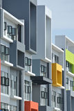 Building façade design with pattern and colours Royalty Free Stock Image