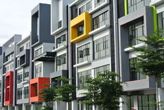 Building façade design with pattern and colours Stock Images