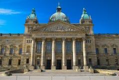 Building facade. Facade of a building of court of a city of Leipzig against the blue summer sky Stock Photos