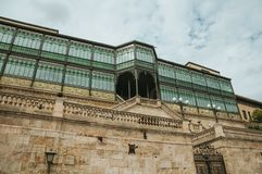 Building facade in Art Nouveau style at Salamanca stock image