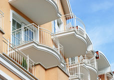 Building facade balconies Stock Images