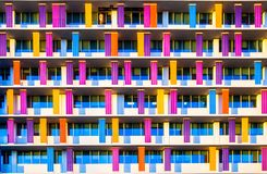 Building facade colorfully painted with repeat pattern Royalty Free Stock Images